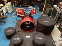 Pearl Session Custom Maple Drum Kit in Red/Black Fade With Cases