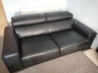 DFS Velocity 100% Leather 2 Seater Sofa Bed Black - 8 months old