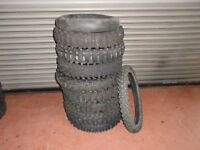 "Part worn motorcycle tyres. Job lot 18"" off road. 8 rear, 1 x 21"" front, 1 x rear mousse"
