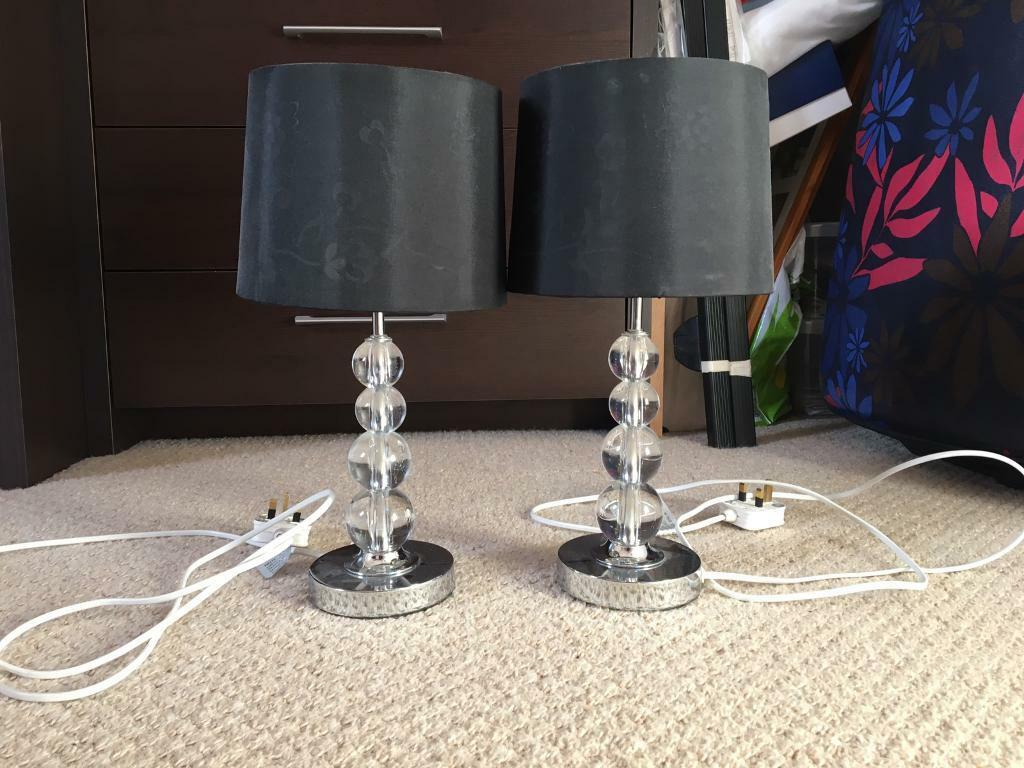 Matching black and silver lamps - pair for bedside