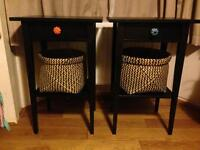 Pair of Ikea black Hemnes bedside tables with drawer and storage basket Rrp £100!