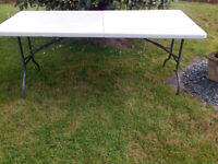Table, Quality, Folding, heavy duty, 6'x2'6, in or outdoors, carry handle, ideal for functions,