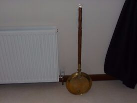 Lovely Large Antique Brass Bedpan with Mahogany Handle
