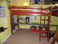 High single bed with mattress, pine wood, 2 m high