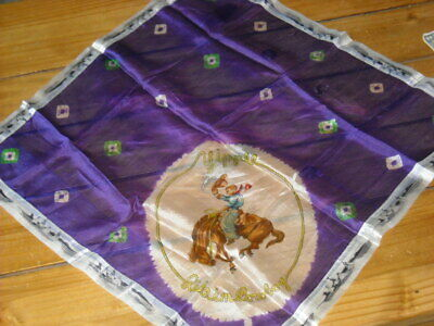 Vintage Rodeo Scarf yippee ride 'em cowboy Teepee border 24 x 25 inches silk?