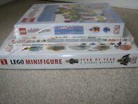 LEGO Minifigures SET, REDUCED 4 books, 4 MINI FIGURES, encyclopedia, sticker books BRAND NEW SEALED