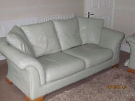 3 and 2 seater Italian leather sofa, very pale green