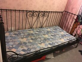 Black metal day bed - hearts design