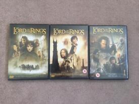 The Lord of the Rings trilogy DVDs