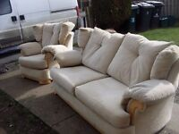 3 seater settee and 1 chair with lumber back cushions