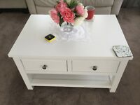 Next white coffee table in very good condition four draw £120 Ono
