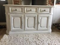 White Sideboard / Dresser / media unit - ornate three drawers and loackable cabinet white distressed
