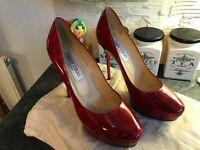 Designer Jimmy Choo Cosmic Red Patent Leather Platform Stiletto's uk4 eu37 rp£525