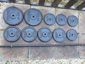100 kg cast iron weights with solid barbell 7 ft by DOMYOS