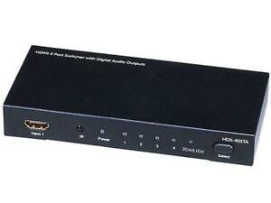 NEW Monoprice 4x1 HDMI Switch w/Toslink, Digital Coaxial, 3D Support