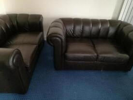 leather sofa, wooden Dinning table & six leather chairs, coffee table