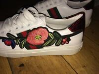 Gucci girl embroidered floral trainers
