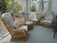 4 Cane conservatory chairs with upholstered cushions