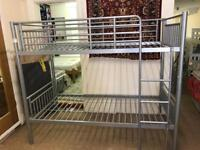 Brand New Contract HEAVY DUTY Bunk Beds in Silver. Suitable for Adults or Minors.