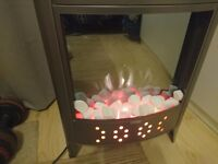 B&Q Bi-flame contemporary corner stove dark grey