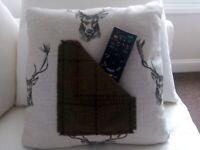 New Square 15inch Stag design cushion with remote holder