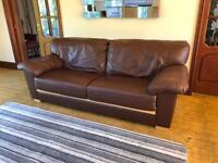 Brown Leather 3 Seater Sofa Wood Finish Good Condition
