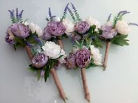 Wedding flower bouquets - lavender and white