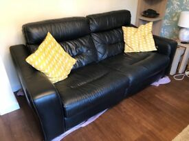 Black Leather Electric Reclining Sofa, Reclining Armchair & Storage Footstool