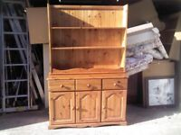 SOLID PINE SIDEBOARD AND TOP DRESSER SHELF WALL UNIT GREAT CONDITION