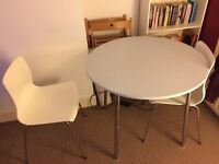 White and silver dining table and chair together (£35) or separate (£20)