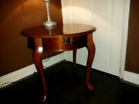 Classic Queen Anne style coffee table with lamp