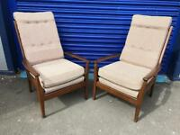 A fabulous pair of mid century Cintique wood show armchairs in time warp condition