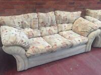 Cream 3 Piece Suite - 3 Seater Sofa + 2 Armchairs - CAN DELIVER