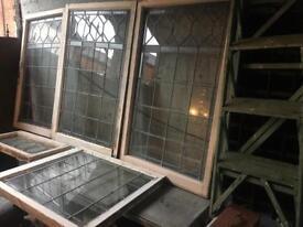 full set of 5 x original Edwardian leaded glass windows £150