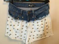 Studded white and denim high waisted shorts