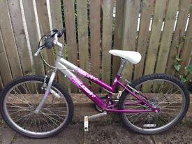 Raliegh 'Krush' girl's bike in silver and purple.