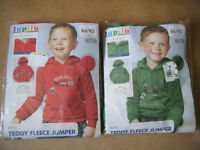 "2 Boys ""Teddy Fleece Jumpers"" for ages 1-2. Brand new and sealed."
