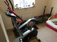 York exercise bike, cross trainer, weights and bench