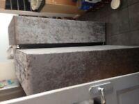 Crush velvet bed divan no drawers with headboard