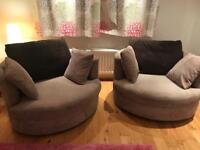 3 Seater sofa + 2 swivel arm chairs