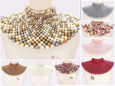 Beaded Bib Collar Necklace Earrings Egyptian Pearl Choker Chain Style