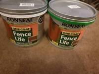 2 tubs unopened ronseal one coat. Colour medium oak