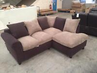 Brand new brown chord / velvet corner sofa