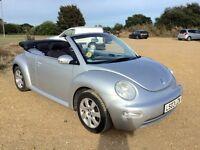 03 Volkswagon Beetle 2.0 Cabriolet. Reflex Silver. Aircon, Alloys, FSH, Power Hood, Very Clean