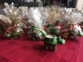 10 Green Hippo candle holders, giftwrapped & ready for gift fairs etc. Bargain plus 1 free