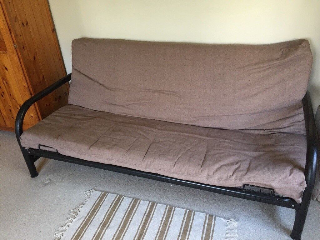 Black Metal Frame Futon Coverts To Double Bed