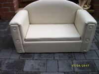 CHILDS LEATHER LOOK SOFA