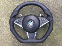 BMW M5 M6 E60 E61 E63 E64 LCI F1 PADDLE SHIFTERS NEW CUSTOM MADE FLAT BOTTOM VIBES STEERING WHEEL