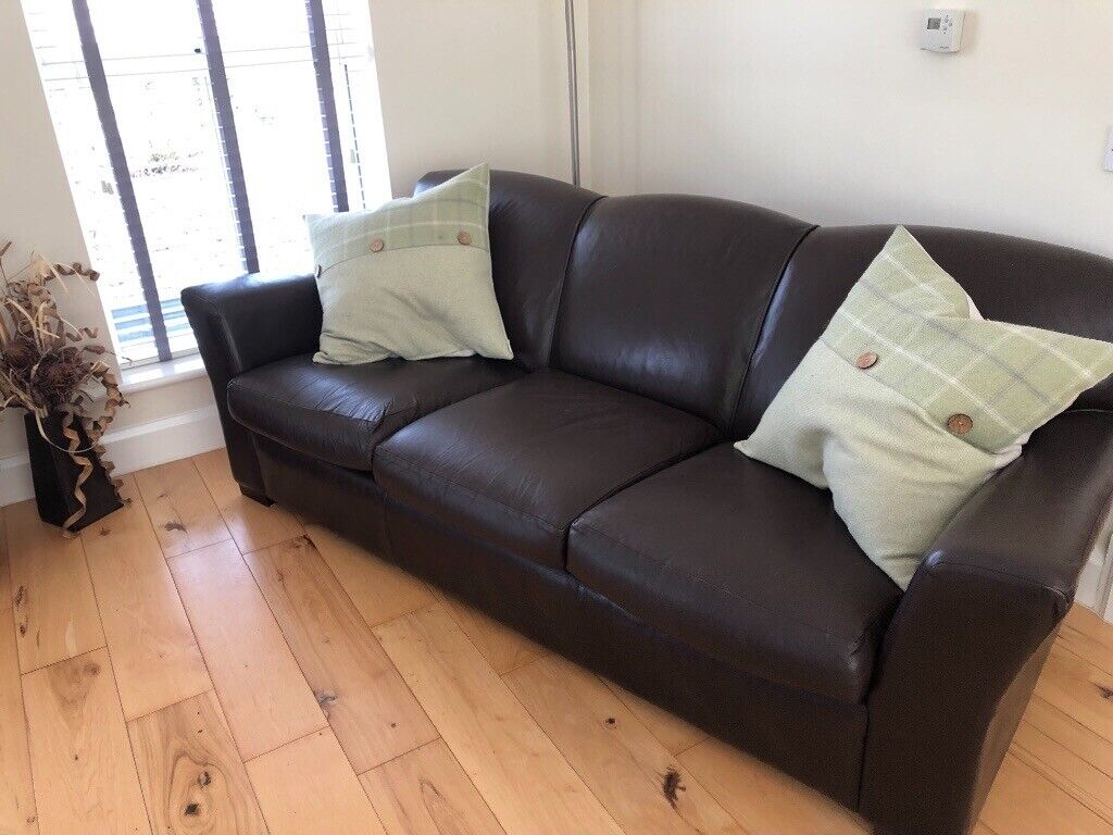 Enjoyable Brown Leather Three Seater Sofa And Two Chairs In Rathfriland County Down Gumtree Gmtry Best Dining Table And Chair Ideas Images Gmtryco