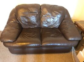 2 seat faux leather sofa brown